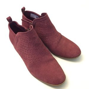 TOMS maroon perforated suede booties 9